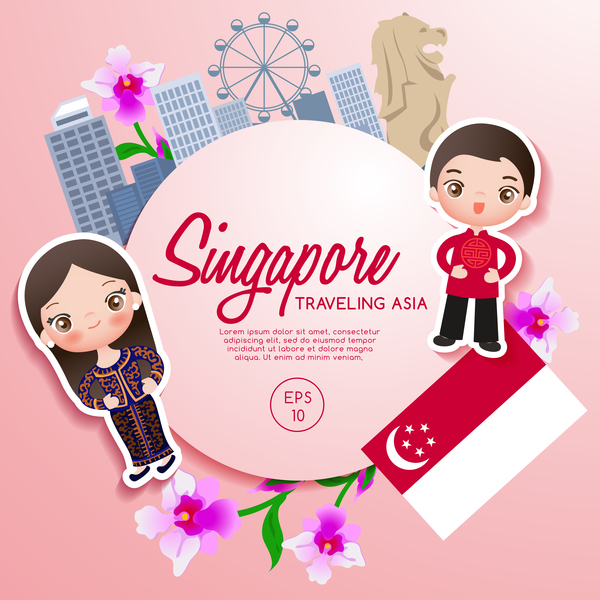 Singapore Travel Cartoon Template Vector Vector Cartoon