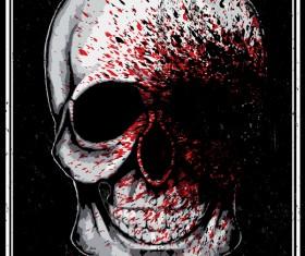 Skull grunge background vectors 01