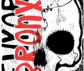 Skull grunge background vectors 03