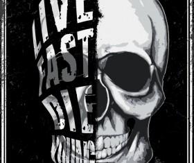 Skull grunge background vectors 04