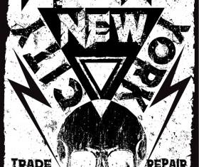 Skull grunge background vectors 05