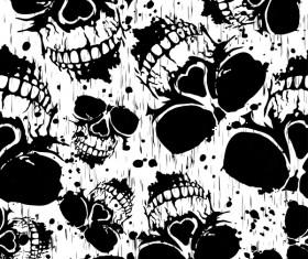Skull grunge seamless pattern black vector