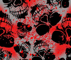Skull seamless pattern with red background vector