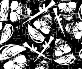 Skull with gun seamless pattern vector