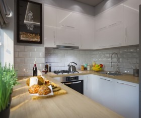 Small kitchen with food Stock Photo 01