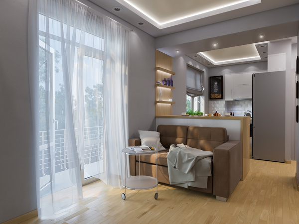 small size living room and bedroom design stock photo 07