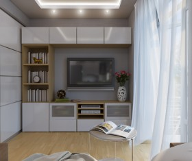 Small size living room and bedroom design Stock Photo 08