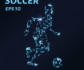 Soccer with points lines 3D vector
