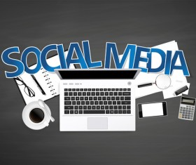 Social media with workplace template vector 01