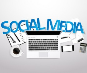 Social media with workplace template vector 02