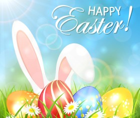 Spring background with colored Easter eggs and rabbit vector