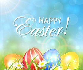 Spring background with colored Easter eggs vector