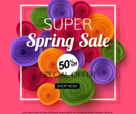 Spring flower with sale special offer background vector 01
