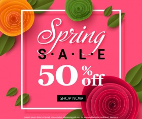 Spring flower with sale special offer background vector 02