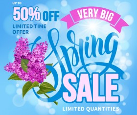 Spring sale background with lilac vector 01