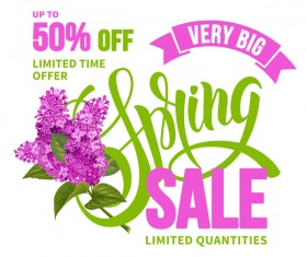 Spring sale background with lilac vector 02