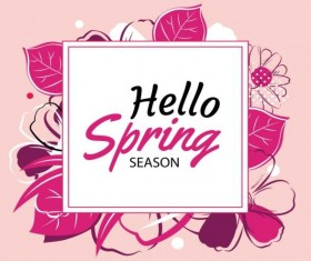 Spring season cards with flower vector 01