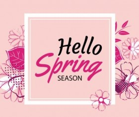 Spring season cards with flower vector 02