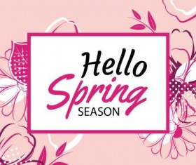 Spring season cards with flower vector 03