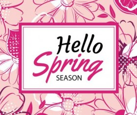 Spring season cards with flower vector 04