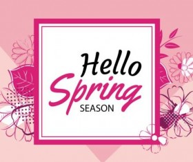 Spring season cards with flower vector 05