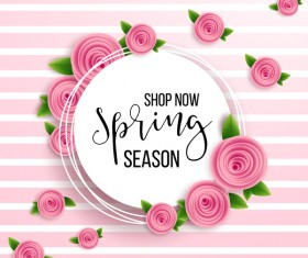 Spring seasonal sale label with background vector 01