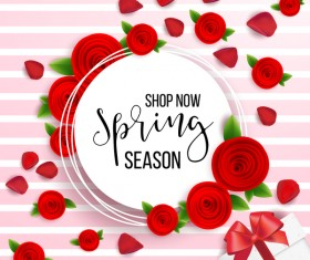 Spring seasonal sale label with background vector 02