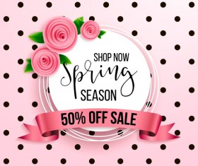 Spring seasonal sale label with background vector 04