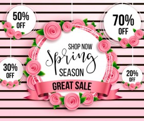 Spring seasonal sale label with background vector 09