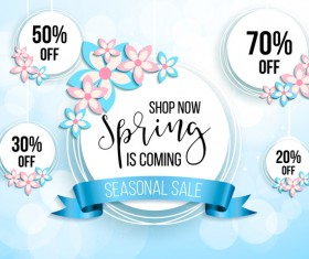 Spring seasonal sale label with background vector 15
