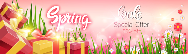 Spring special offer banners vector 02