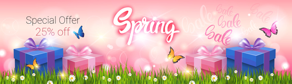 Spring special offer banners vector 03