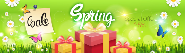 Spring special offer banners vector 04