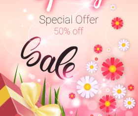 Spring special offer sale template vector 02