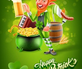 St.Patricks Day poster template vector 02