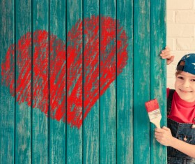Stock Photo Children board heart-shaped painting 01