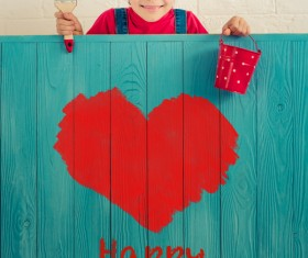 Stock Photo Children board heart-shaped painting 02