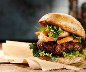 Stock Photo Delicious shrimp burger