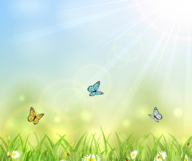 Summer background with butterflies vector material