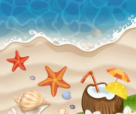 Summer beach with sea and travel background vector 02
