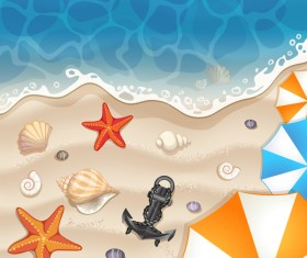 Summer beach with sea and travel background vector 03