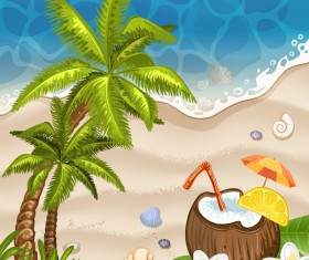Summer beach with sea background and coconut trees vector 01