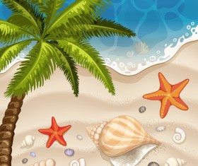 Summer beach with sea background and coconut trees vector 02