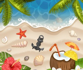 Summer beach with sea background and coconut trees vector 04