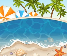 Summer beach with sea background and coconut trees vector 05