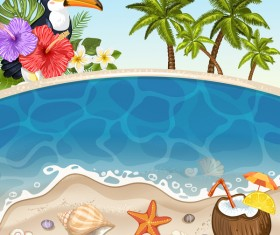Summer beach with sea background and coconut trees vector 06