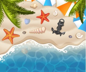 Summer beach with sea background and coconut trees vector 07
