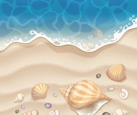 Summer beach with sea background and coconut trees vector 08