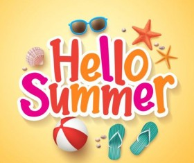 Summer elements with yellow background vector
