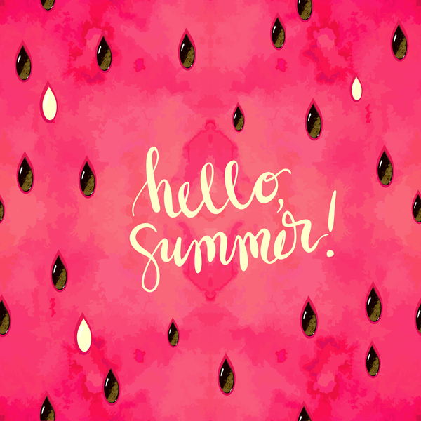 """""""hello, summer"""" hand written lettering. Vector illustration with watercolor paint textured watermelon background."""